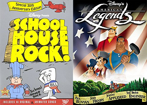 American Animated Cartoons Disney Legends DVD & School House Rock Math / Grammar / Election / History Knowledge is Power - Collection Election