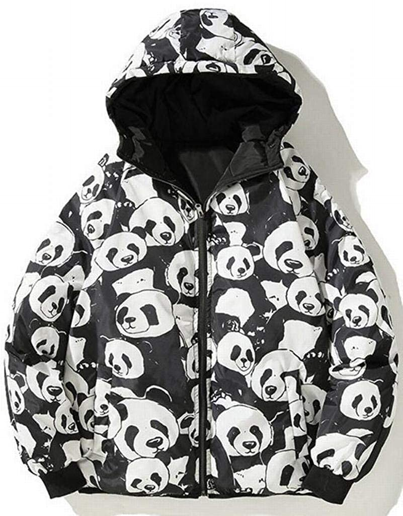 XTX Mens Bread Relaxed Fit Plus Size Zip Front Panda Winter Quilted Floral Printed Down Coat