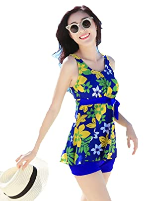 Women's 2 Piece Rockabilly Vintage Tankini Gathered Swimming Suit (XL, Color-4)