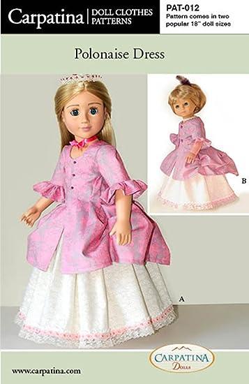 Puppe Kleidung Muster für Polonaise Kleid passt 45,7 cm American ...