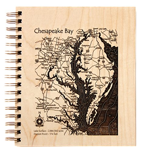 Pushaw Lake in Penobscot, ME - Journal 9 x 12 IN - Lake Etched Wire-Bound Birch Journal-9?x - Ontario Times Mills