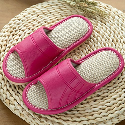 Summer Cozy Women's Open Slippers Toe House Color Slippers Blubi Candy Flax Rose Ladies Slippers 5U40qqwx