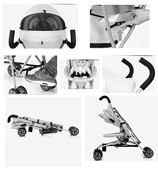 Amazon.com : Baby cart Ultra-Light can sit Reclining Folding Shock Absorber Push Umbrella car (Color : Beige) : Baby