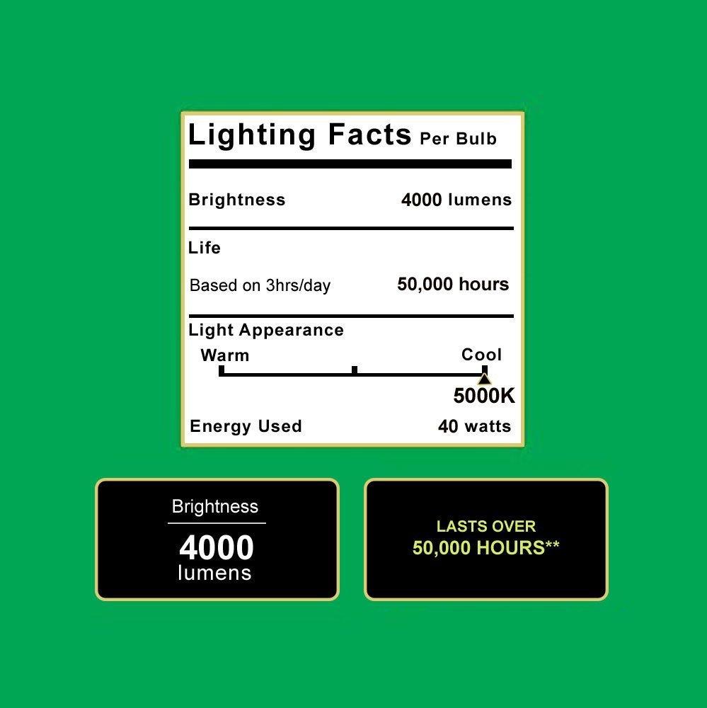 Sunco Lighting 4 Pack 4ft 48 Inch LED Utility Shop Light 40W (260W Equivalent) 5000K Kelvin Daylight, 4500 Lumens, Double Integrated Linkable Garage Ceiling Fixture, Clear Lens - Energy Star/ETL by Sunco Lighting (Image #1)