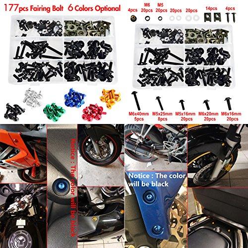NICECNC Black Aluminum Windscreen Fairing Bolts Kit Fastener Clips Screws for Motorcycle Sportbike Honda,Yamaha,Kawasaki Suzuki,Aprilia MV Agusta Triumph