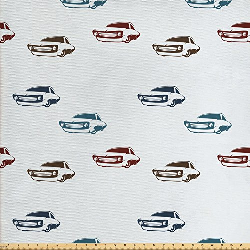 Ambesonne Cars Fabric by The Yard, Different Colored Muscle Cars with Retro Display Antique American Engineering, Decorative Fabric for Upholstery and Home Accents, Blue Brown Burgundy