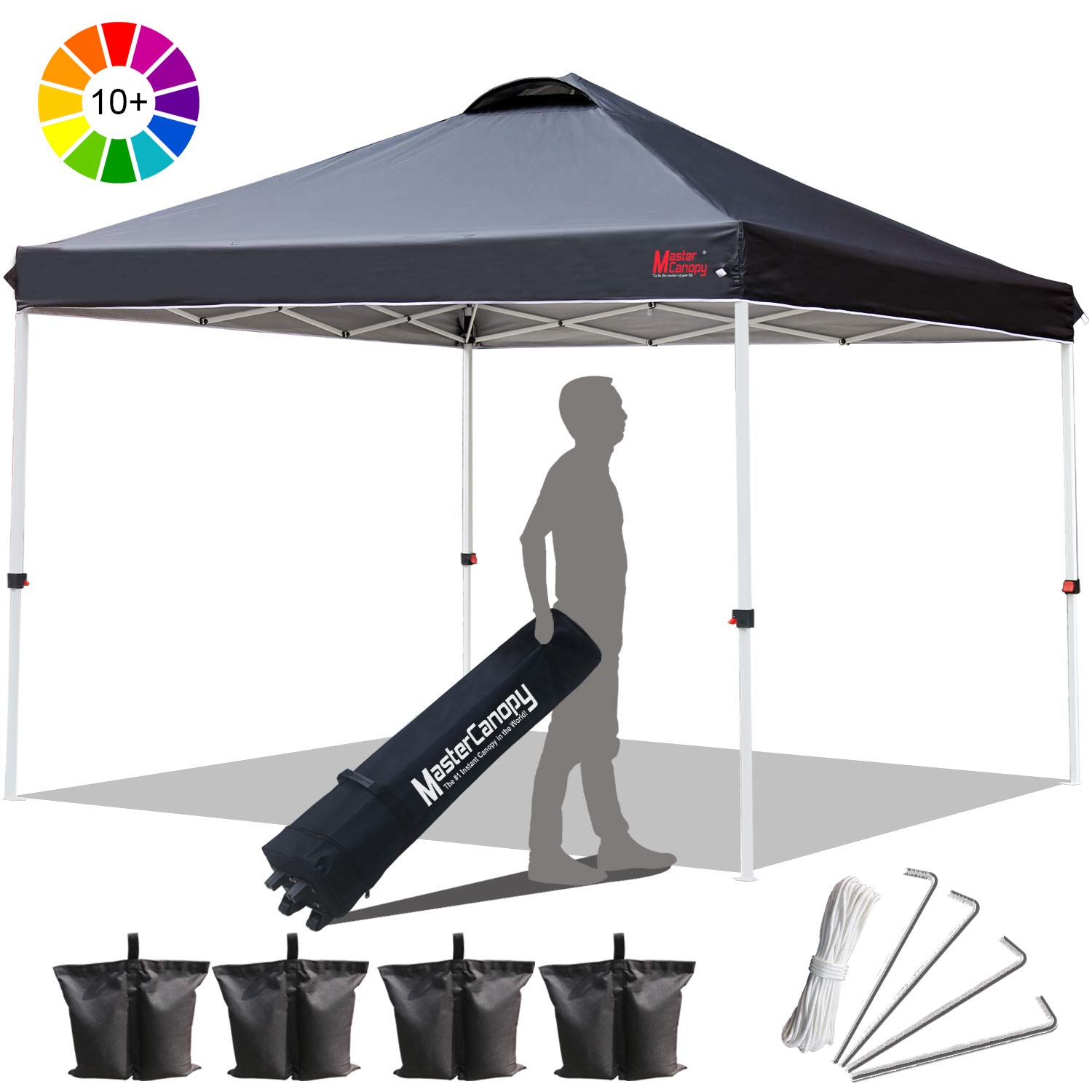 MasterCanopy Compact Canopy 10×10 Ez Pop up Canopy Portable Shade Instant Folding Better Air Circulation Canopy with Wheeled Bag,x4 Canopy Sandbags,x4 Tent Stakes Black