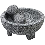 """IMUSA MEXI-2011M Granite Molcajete, 8"""", Gray 5 Made Of Granite Beautiful Serving Piece, goes Seamlessly From Kitchen to Table Easily Grinds Spices & Herbs"""