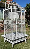 New Large Wrought Iron Bird Parrot Cage Double Ladders Open/Close Play Top, Include Seed Guard and Open Play Top