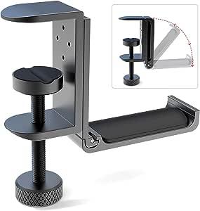 Foldable Headphone Stand Hanger Holder Bracket Aluminum Headphones Headset Clamp Hook Under Desk Space Save Mount Fold Upward Not in Use, Universal Fit All Headphones, Black