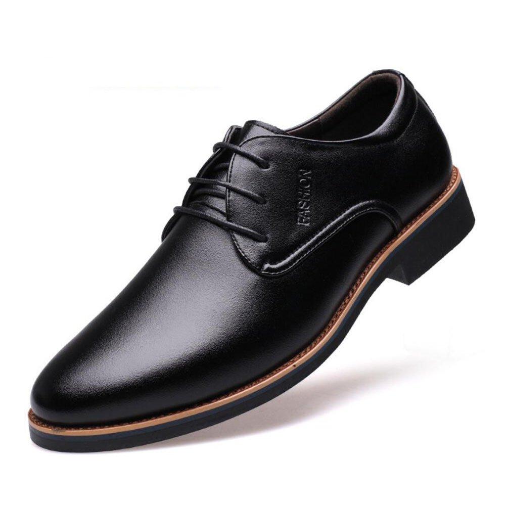 Herren Schuhe Formale Schuhe Frühjahr/Sommer/Herbst Herren Business Schuhe/LowTop/Breathable/Casual/Kleid/Büro Lederschuhe (Farbe : Schwarz  Größe : 41) Schwarz