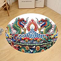 Gzhihine Custom round floor mat Asian Chinese Dragons Decor Colorful Eastern Asian Theme Culture Flame Flowers Decoration Artprint Living Room Bedroom Dorm Outdoor Red Yellow Green Blue