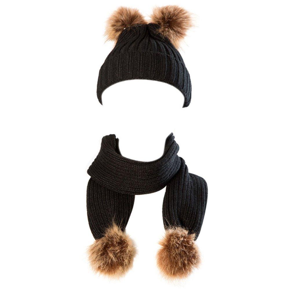 Cappello e sciarpa del bambino impostati, Brightup Inverno maglia cappello Unisex Baby Kids caldo sciarpe