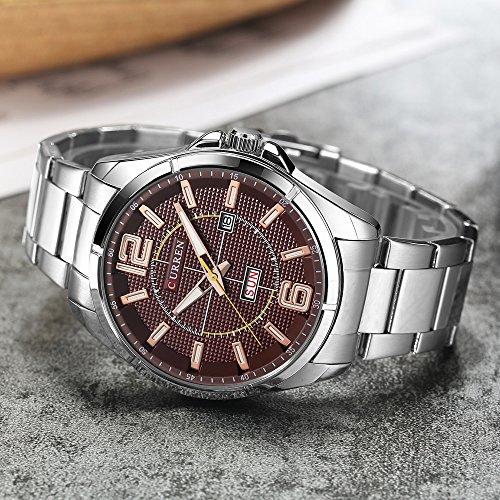 New Men Watch Quartz Water Resistant Sliver Steel Watchband Wristwatches Calendar 8271 by CURREN (Image #3)