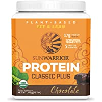 Sunwarrior Classic Plus Organic Vegan Protein Powder with BCAAs and Pea Protein (Chocolate, 15 Servings)