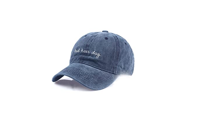 JFC Bad Hair Day Washed Cotton Denim Baseball Cap Embroidered Adjustable  Strap (Blue) 40efa6c5a86