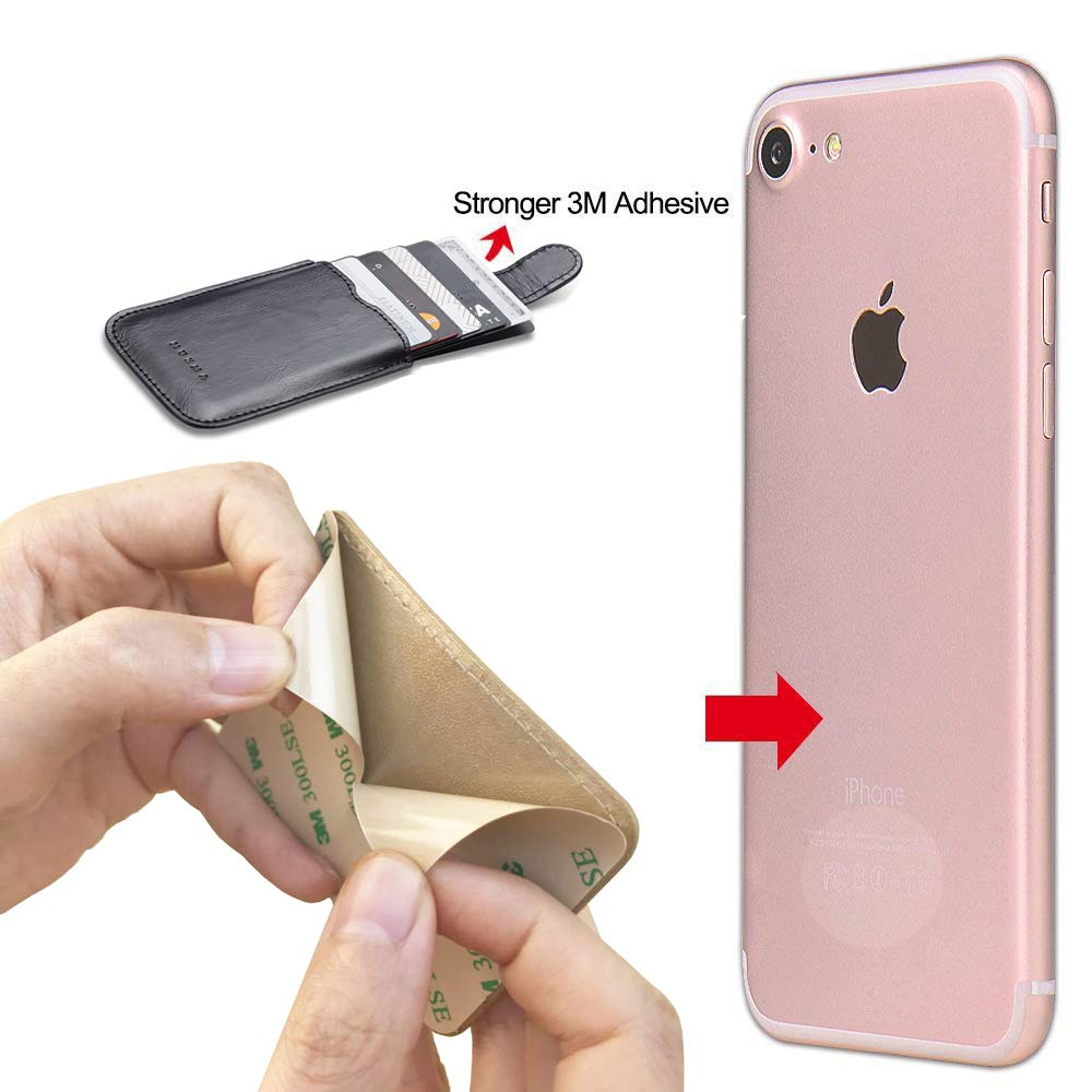 Phone Card Holder RFID Blocking Sleeve, Pu Leather Back Phone Wallet Stick-On Pull up 5 Card Holder Universally Pocket Covers Credit Cards Cash for iPhone/Android/Samsung/All Smartphones. (Rose) by Arokimi (Image #5)