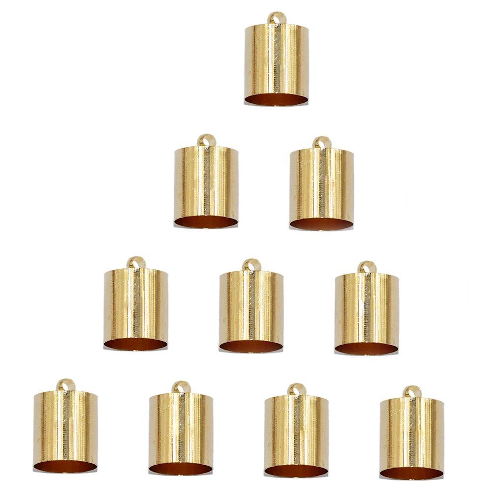 Jili Online 10Pcs End Cord Crimp Bead Cap Findings Light Gold for 9mm 10mm Rope