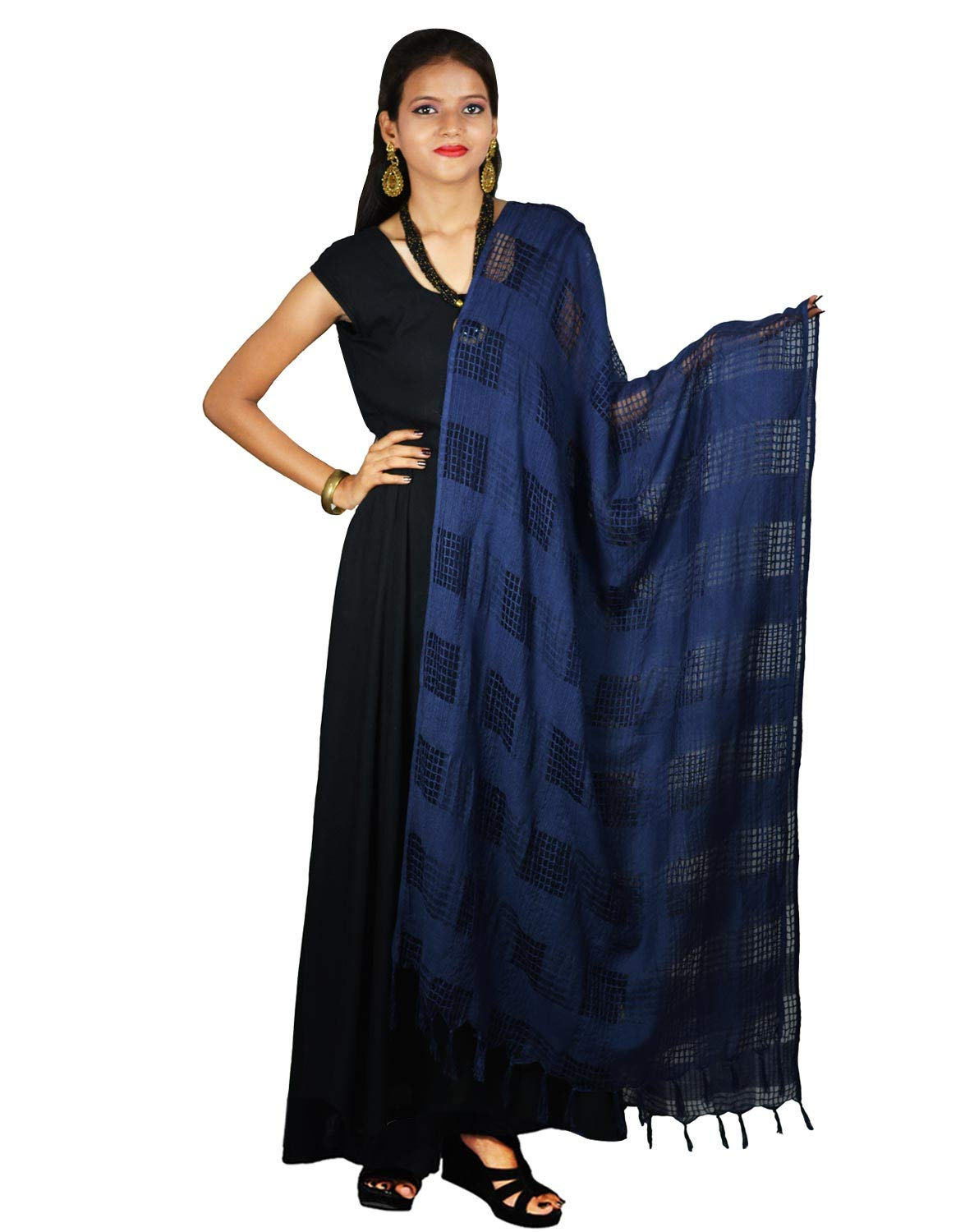 Ethnic Navy Blue Dupatta with Striped Pattern Cotton Viscose Chunni Stole Scarf Wrap For Women