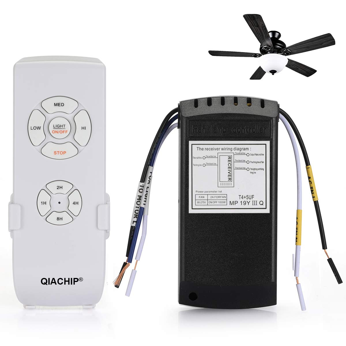 QIACHIP Universal Ceiling Fan and Light Remote Control Kit