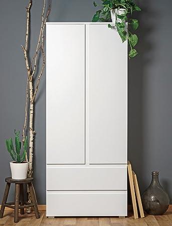 Vorratsschrank küche weiß  Mehrzweckschrank Imke 7 weiß 80x191x40 cm Garderobenschrank ...