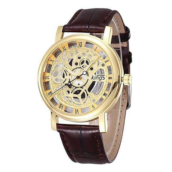 weant Reloj de Cuarzo Analógico Reloj de Mujer de Oro Rosa De Plata Reloj Chica, Hombre, A La Moda Precioso Relojes Casual Unisex Banda de Cuero B: ...