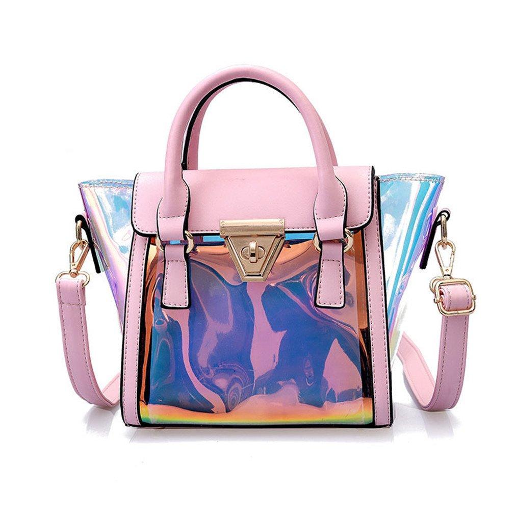 Chic-Dona Laser Messenger Bag Candy Women Fashion Jelly Transparent Handbag Plastic Shoulder Bags Hasp Lock Chains Handbags Pink