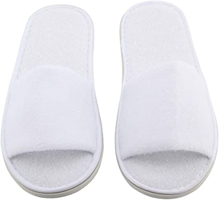 10 Pairs SPA Hotel Guest Slippers Towelling Disposable Terry Closed Toe Party UK