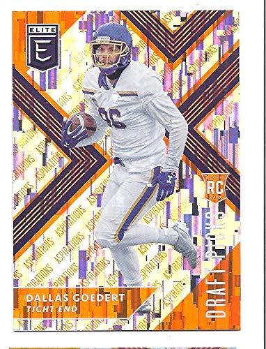 DALLAS GOEDERT 2018 Panini Elite Draft Picks #125 (ball in right arm) Aspirations Orange Parallel Rookie Card RC South Dakota State Jackrabbits Philadelphia Eagles Football
