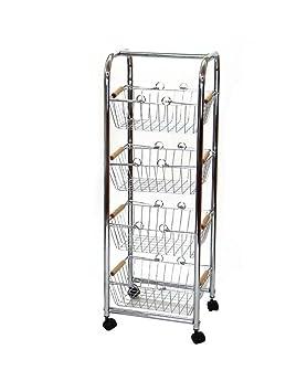 Home Line Carro verdulero-frutero de acero cromado con ruedas 4 cestas para organización Basic.: Amazon.es: Hogar