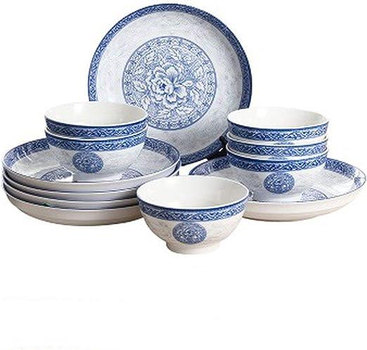 56-pieces Ceramic Porcelain Dinner Kitchen Service Set Dinnerware Plates Bowls