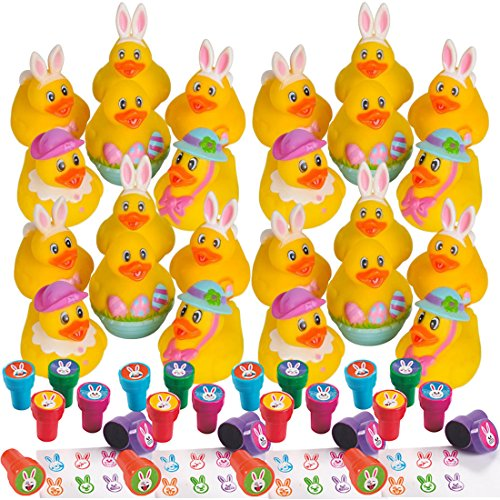 48 Count Easter Rubber Ducks and Stampers Bundle