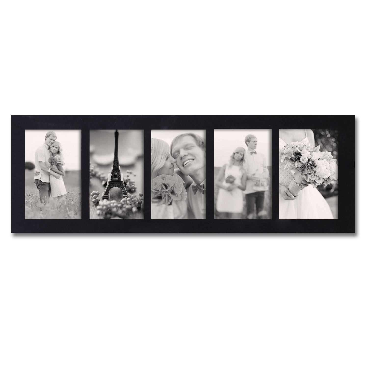 Joveco 5 Divided Openings Decorative Wood Wall Hanging Picture Photo Frame (Black)