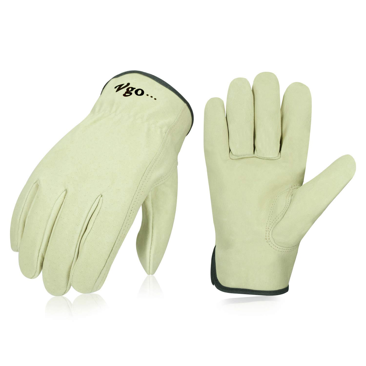 Vgo 3Pairs Unlined Men's Pigskin Leather Work Gloves, Drivers Gloves(Size M,Light Cyan,PA9501) by Vgo... (Image #1)