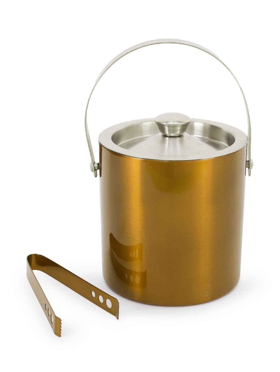 King International 100% Stainless Steel Golden colored Bar Set | Bar Tools | Bar Accessories Set of Pieces | Ice Bucket | Ice Tong- Ideal for Gifting Party and Get Together