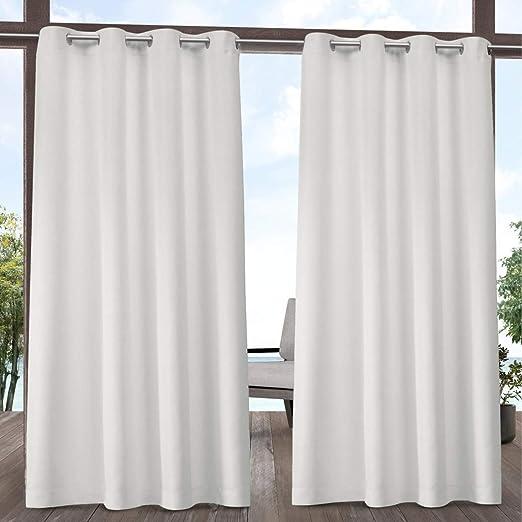 2pc 96 – Cenador de color blanco juego de cortinas par, blanco color sólido patrón Rugby colores exterior, interior Pergola Drapes porche, deck, patio Protector de entrada Lanai Sunroom de rayas: Amazon.es: