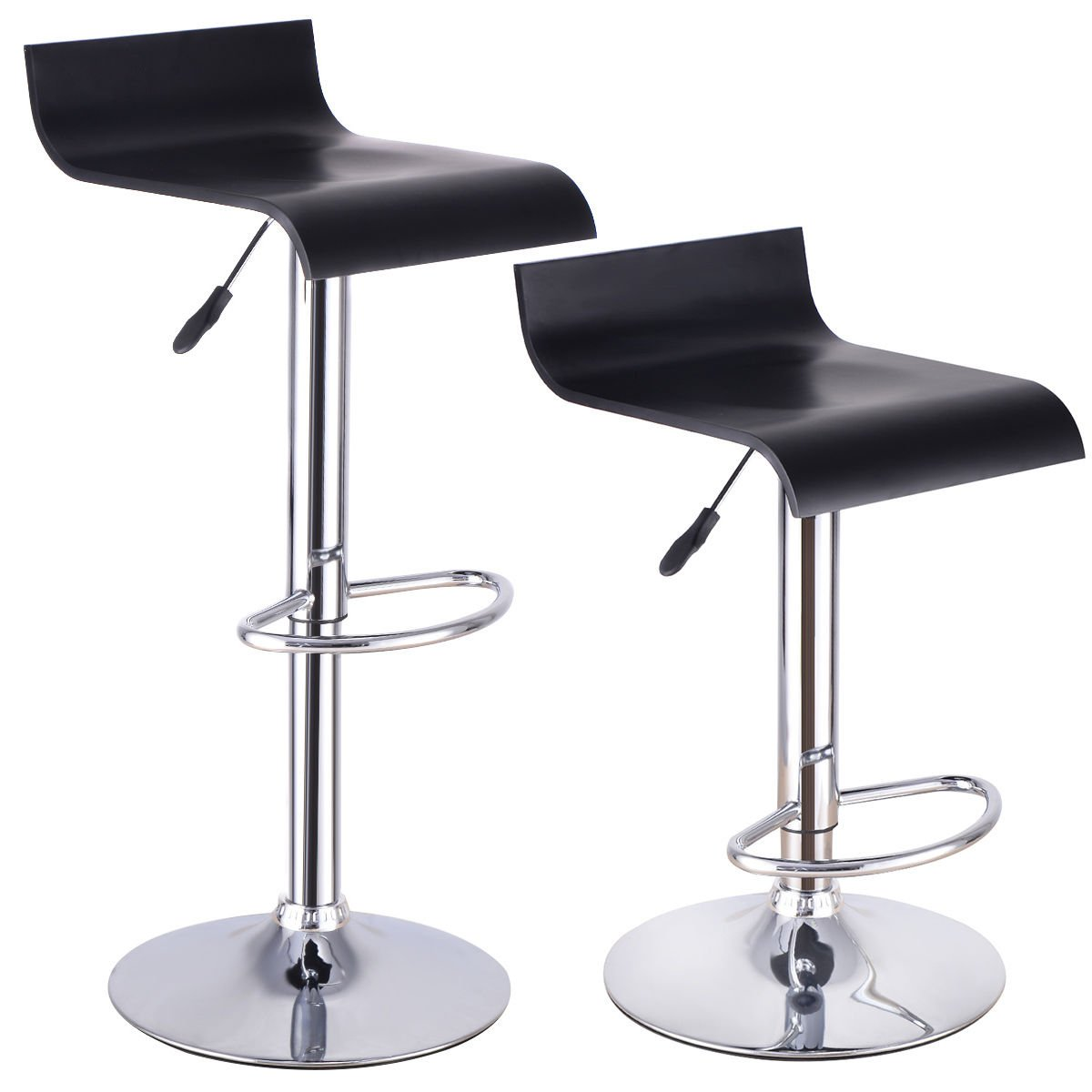 Costway Furniture Modern BentWood Bar Stool Air Lift Adjustable Swivel Dinning Counter Chair with Black Seat, Set Of 2