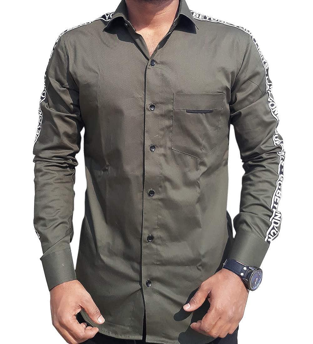 SN Casual Shirt for Men Designer Shirt Mehndi Colour Slim fit Unique  Pattern Shirt