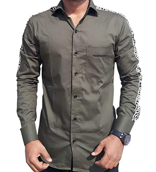 7bf597e1 S.N. Men's Cotton Slim Fit Unique Pattern Casual Shirt (Mehendi Colour, ...