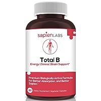 Sapien Labs Vitamin B Complex, Vitamins B12, B1, B2, Niacin, B5, B6, Biotin, 5-MTHF...