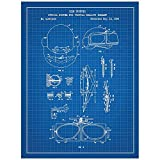 Inked and Screened Gaming ''Virtual Reality Goggles - K. Hunter - 1984'' Print, Blue Grid - White Ink