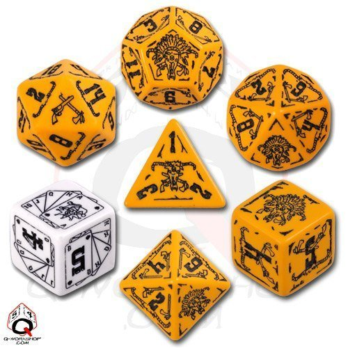 Q-Workshop Polyhedral 7-Die Set: B00S5VJ8OU Carved 7-Die Deadlands Dice Black) Set (Orange and Black) by Q Workshop [並行輸入品] B00S5VJ8OU, 家具インテリア雑貨のMashup:5fea7601 --- dakuwebsite.xyz