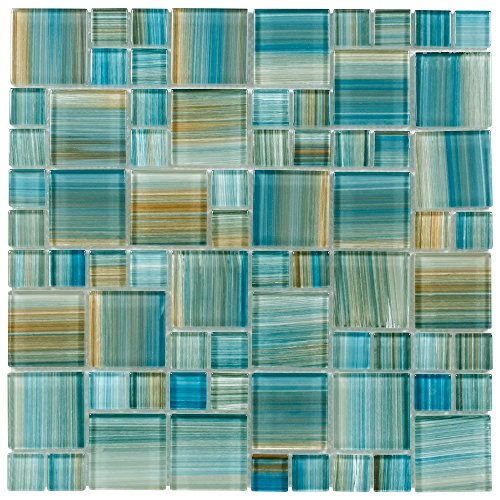 MTO0091 Modern Modular Blue Brown Aquamarine Blend Glossy Glass Mosaic Tile - Glass Mosaic Blends