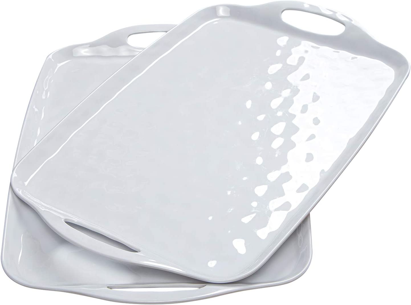 "TP Serving Tray with Handles, Large Rectangle Melamine Serving Platter Set of 2, White (19"" x 12"")"