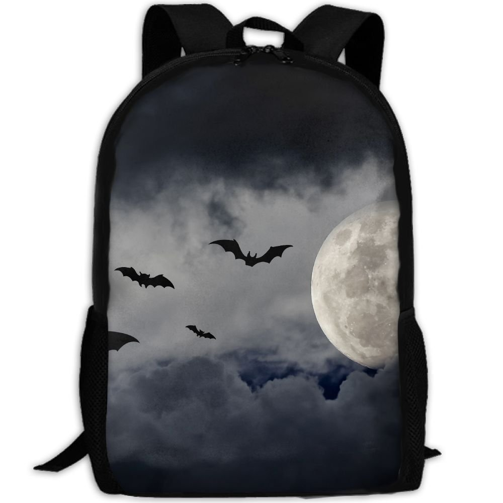 4d378c149dbe chic ZQBAAD Halloween Bats And The Moon Luxury Print Men And Women s Travel  Knapsack