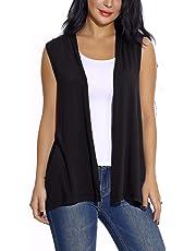 EXCHIC Women's Sleeveless Open Front Cardigan Vest Lightweight Cool Coat