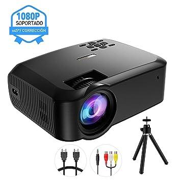 Mpow Proyector Full HD con Trípode, 3200 Lúmenes LED 1280 * 720P Mini Proyector Portátil Multimedia Cine en Casa ±45° con HDMI VGA AV USB Puertos ...