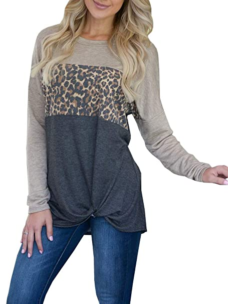 24cece21eac Klousilover Womens T Shirts Casual Knot Front Long Sleeve Sweatshirt  Leopard Print Tunic Tops