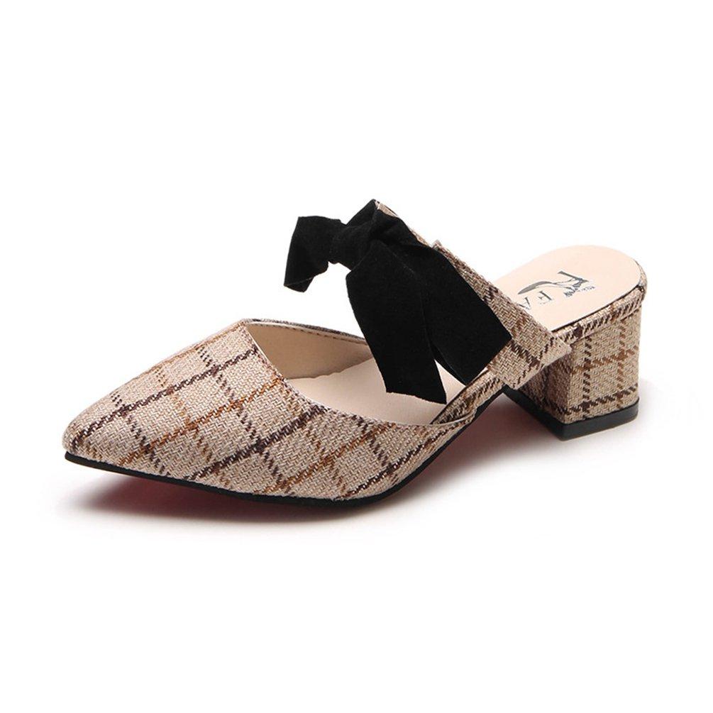 Femmes Mules Mode 17716 Talons Carrés, Chaussure à Chaussure Carreaux avec Mules Nœud Slip-on Bout Pointu Sandales Beige 9e55f38 - therethere.space
