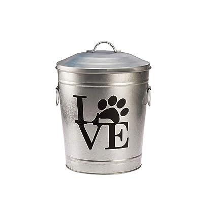 Pooch Pantry Love Galvanized Metal Pet Food Storage Bin